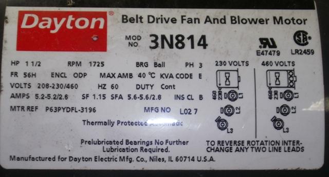 Dayton Belt Drive Fan And Blower Motor Hp 1 5 208